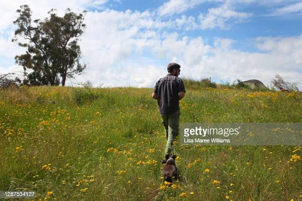 Adrian Brayne walks through newly grown grass with his dog at his property on November 24, 2020 in Tumbarumba, Australia. Second-generation winemaker...