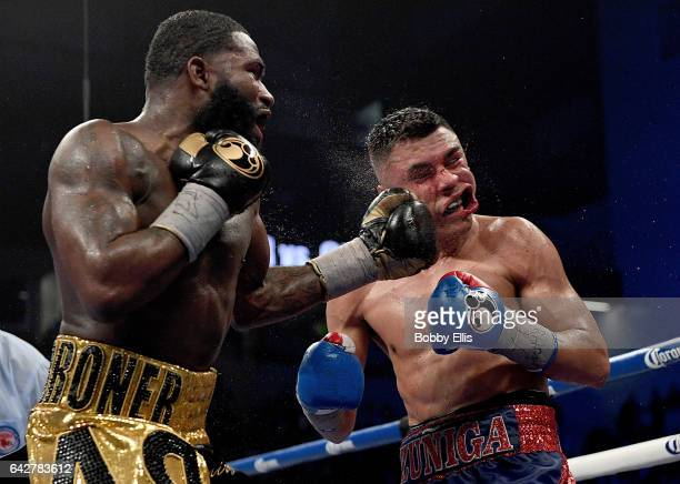 Adrian Broner left hits Adrian Granados during their fight at Centas Center on February 18 2017 in Cincinnati Ohio