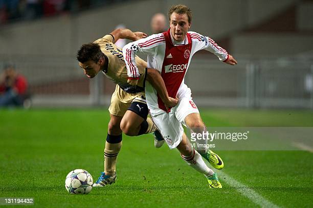 Adrian Calello of Dinamo ZagrebChristian Eriksen of Ajax during the Champions League match between Ajax and Dinamo Zagreb at the Amsterdam Arena on...