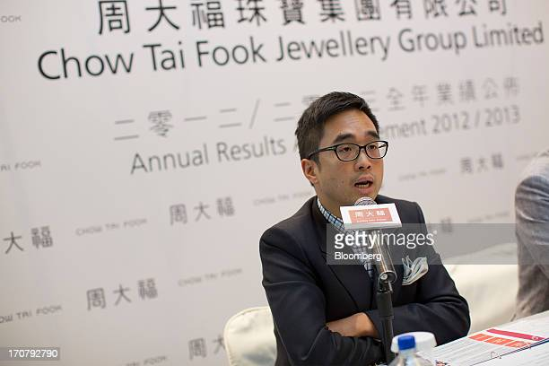 Adrian Cheng executive director of Chow Tai Fook Jewellery Group Ltd speaks during the companys annual results news conference in Hong Kong China on...