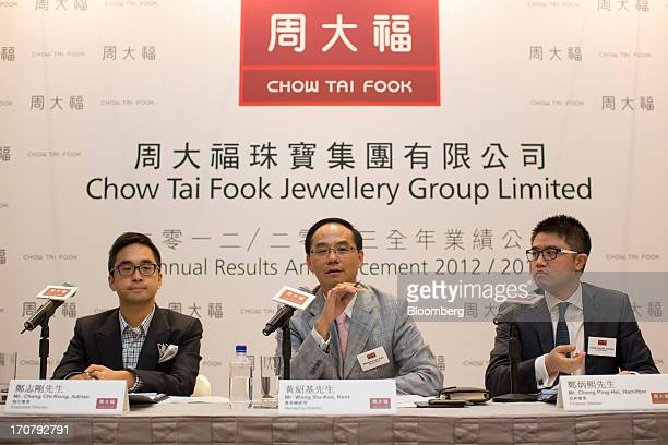 Adrian Cheng executive director of Chow Tai Fook Jewellery Group Ltd from left Kent Wong managing director and Hamilton Cheng finance director attend...
