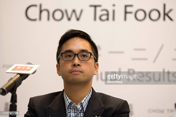 Adrian Cheng executive director of Chow Tai Fook Jewellery Group Ltd attends the companys annual results news conference in Hong Kong China on...