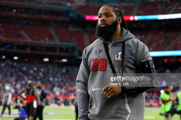 Adrian Clayborn of the Atlanta Falcons looka on prior to Super Bowl 51 against the New England Patriots at NRG Stadium on February 5 2017 in Houston...