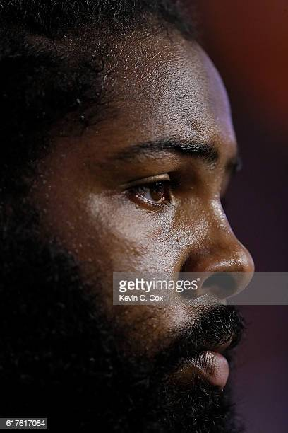 Adrian Clayborn of the Atlanta Falcons looks on as they head into overtime against the San Diego Chargers at Georgia Dome on October 23 2016 in...