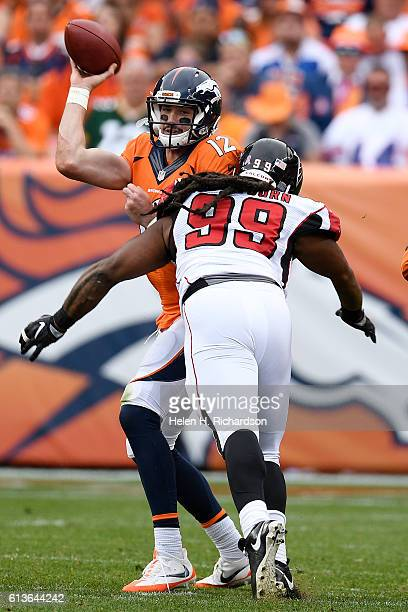 Adrian Clayborn of the Atlanta Falcons pressures Paxton Lynch of the Denver Broncos during the fourth quarter of the Falcons' 2316 win The Denver...