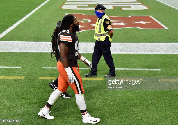 Adrian Clayborn of the Cleveland Browns leaves the field during the first half against the Cincinnati Bengals at FirstEnergy Stadium on September 17,...