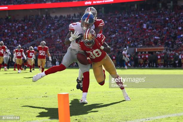 Adrian Colbert of the San Francisco 49ers breaks up a pass intended for Evan Engram of the New York Giants during their NFL game at Levi's Stadium on...