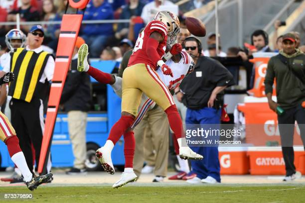 Adrian Colbert of the San Francisco 49ers breaks up a pass intended for Tavarres King of the New York Giants during their NFL game at Levi's Stadium...