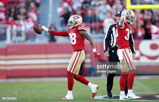 Adrian Colbert of the San Francisco 49ers celebrates after recovering a fumble during the game against the Tennessee Titans at Levi's Stadium on...