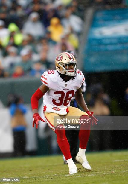 Adrian Colbert of the San Francisco 49ers defends during the game against the Philadelphia Eagles at Lincoln Financial Field on October 29 2017 in...