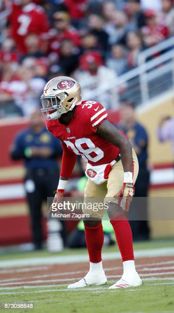 Adrian Colbert of the San Francisco 49ers defends during the game against the Arizona Cardinals at Levi's Stadium on November 5 2017 in Santa Clara...
