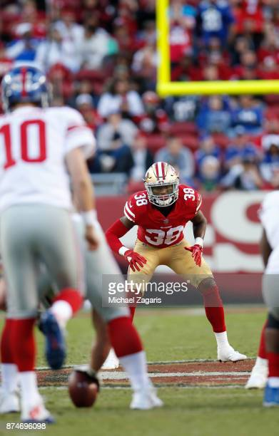 Adrian Colbert of the San Francisco 49ers defends during the game against the New York Giants at Levi's Stadium on November 12 2017 in Santa Clara...