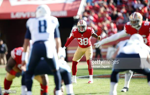Adrian Colbert of the San Francisco 49ers defends during the game against the Tennessee Titans at Levi's Stadium on December 17 2017 in Santa Clara...