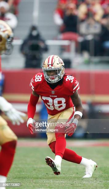 Adrian Colbert of the San Francisco 49ers defends during the game against the Jacksonville Jaguars at Levi's Stadium on December 24 2017 in Santa...
