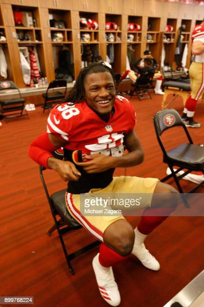 Adrian Colbert of the San Francisco 49ers gets dressed in the locker room prior to the game against the Jacksonville Jaguars at Levi's Stadium on...