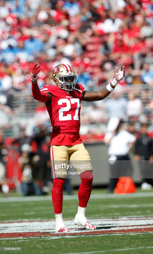 2420b0c6 Adrian Colbert of the San Francisco 49ers pumps the crowd up during ...