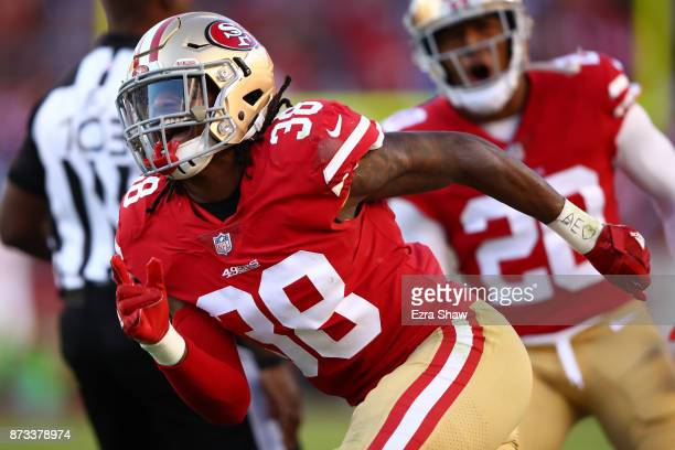 Adrian Colbert of the San Francisco 49ers reacts after a play against the New York Giants during their NFL game at Levi's Stadium on November 12 2017...