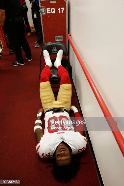 Adrian Colbert of the San Francisco 49ers relaxes in the locker room prior to the game against the Los Angeles Rams at Los Angeles Memorial Coliseum...