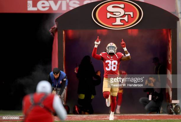 Adrian Colbert of the San Francisco 49ers runs onto the field during player introduction prior to the start of an NFL football game against the...