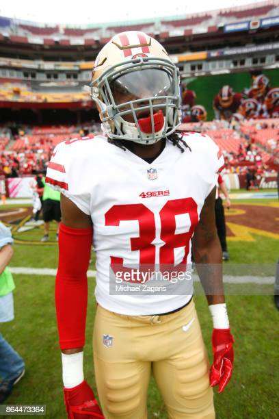 Adrian Colbert of the San Francisco 49ers stands on the field prior to the game against the Washington Redskins at FedEx Field on October 15 2017 in...