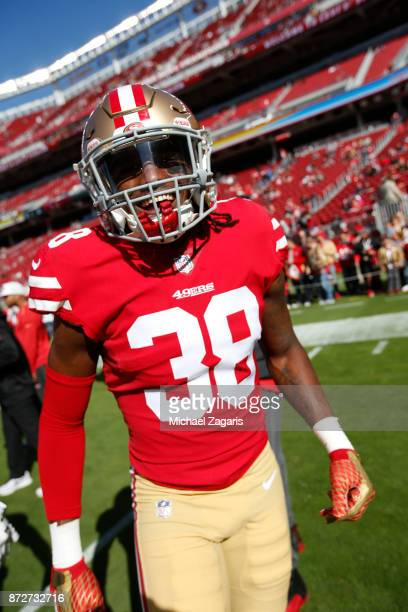 Adrian Colbert of the San Francisco 49ers stands on the field prior to the game against the Arizona Cardinals at Levi's Stadium on November 5 2017 in...