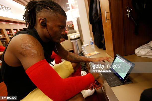 Adrian Colbert of the San Francisco 49ers studies video in the locker room prior to the game against the New York Giants at Levi's Stadium on...