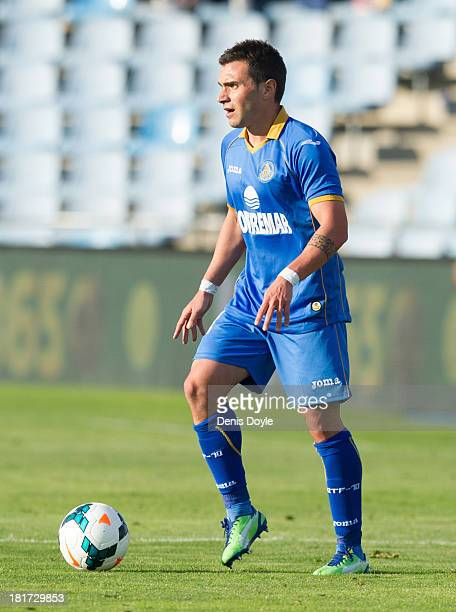 Adrian Colunga of Getafe in action during the La Liga match between Getafe CF and CA Osasuna at Coliseum Alfonso Perez on September 15 2013 in Getafe...