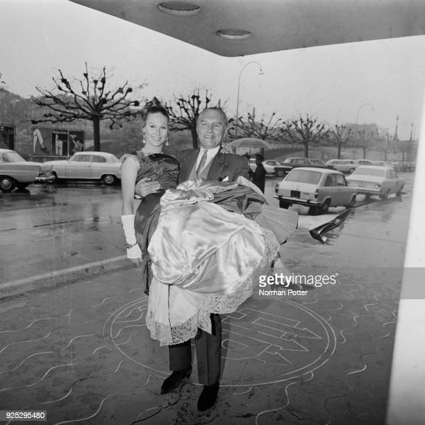 Adrian Conan Doyle carries actress Dominique Joos Switzerland 29th April 1968