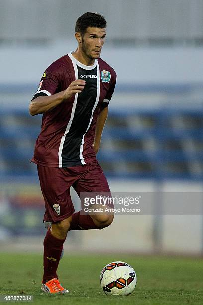 Adrian Cuevas of Cordoba CF controls the ball during the friendly football match between Marbella FC and Cordoba CF at Municipal Stadium on July 27...