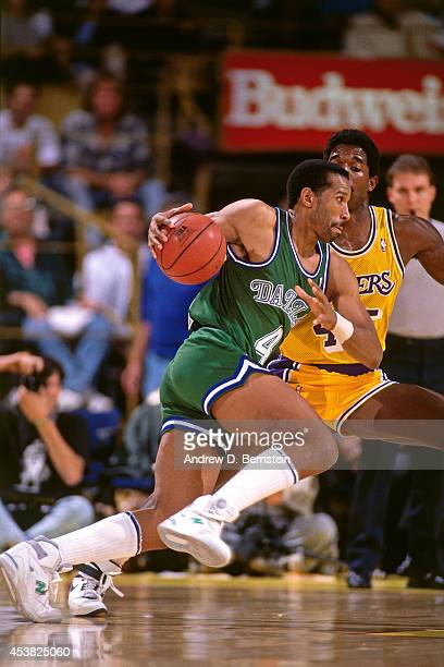 Adrian Dantley of the Dallas Mavericks dribbles against the Los Angeles Lakers circa 1991 at the Great Western Forum in Inglewood California NOTE TO...