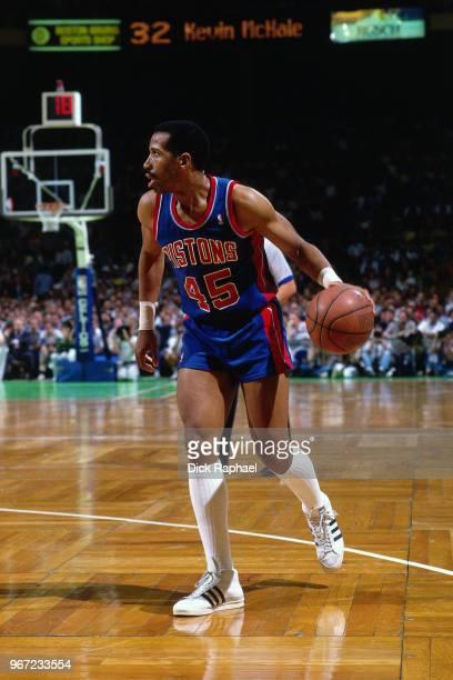 Adrian Dantley of the Detroit Pistons handles the ball against the Boston Celtics circa 1988 at the Boston Garden in Boston, Massachusetts. NOTE TO...