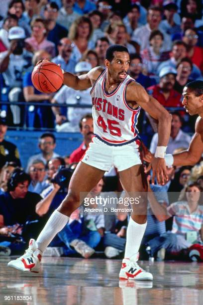 Adrian Dantley of the Detroit Pistons handles the ball circa 1988 at the Pontiac Silverdome in Pontiac, Michigan. NOTE TO USER: User expressly...
