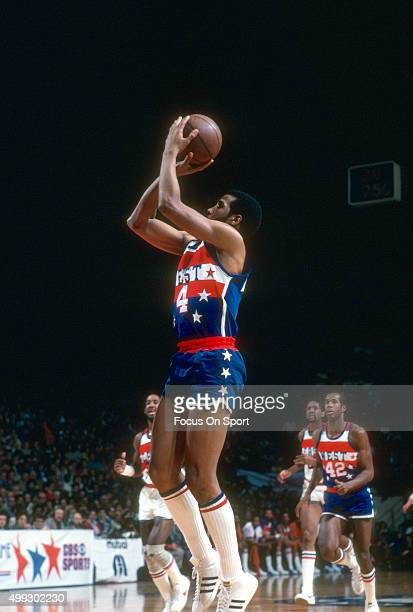 Adrian Dantley of the Utah Jazz and the West All Stars shoots against the East All Stars during the NBA All Star Game February 3, 1980 at the Capital...