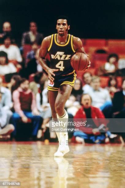 Adrian Dantley of the Utah Jazz dribbles against the Atlanta Hawks circa 1985 at the Omni in Atlanta, Georgia. NOTE TO USER: User expressly...
