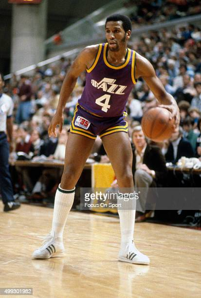 Adrian Dantley of the Utah Jazz dribbles the ball against the New Jersey Nets during an NBA basketball game circa 1980 at the Rutgers Athletic Center...