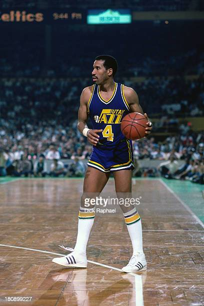 Adrian Dantley of the Utah Jazz dribbles the ball on the perimeter during a game circa 1986 at the Boston Garden in Boston, Massachusetts. NOTE TO...