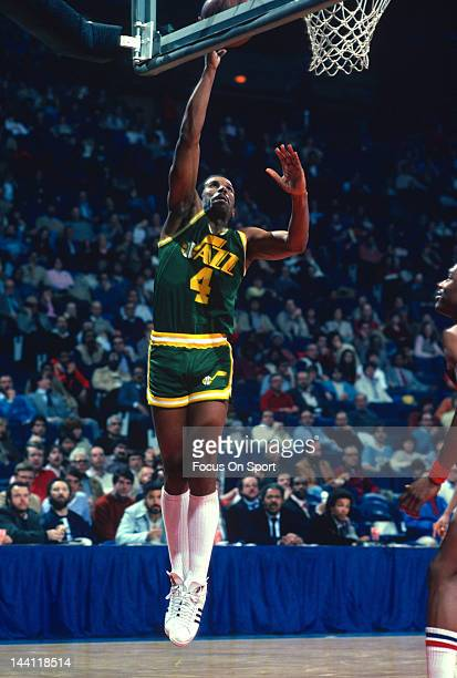 Adrian Dantley of the Utah Jazz goes in for a lay up against the Washington Bullets during an NBA basketball game circa 1982 at the Capital Centre in...