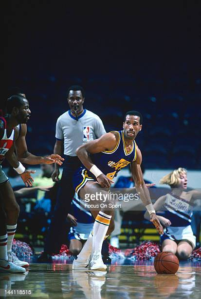 Adrian Dantley of the Utah Jazz in action against the Washington Bullets during an NBA basketball game circa 1984 at the Capital Centre in Landover...