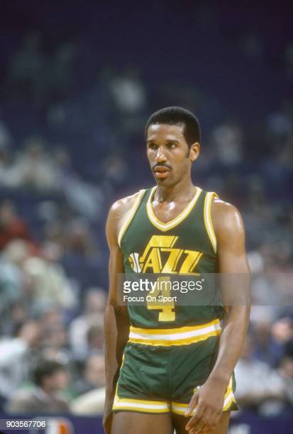 Adrian Dantley of the Utah Jazz looks on against the Washington Bullets during an NBA basketball game circa 1982 at the Capital Centre in Landover,...
