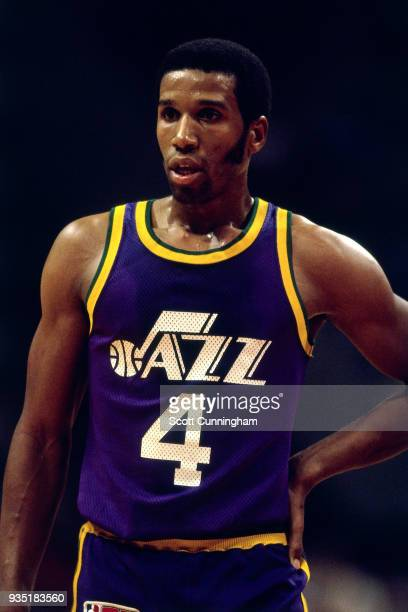 Adrian Dantley of the Utah Jazz looks on circa 1980 at the Omni in Atlanta, Georgia. NOTE TO USER: User expressly acknowledges and agrees that, by...