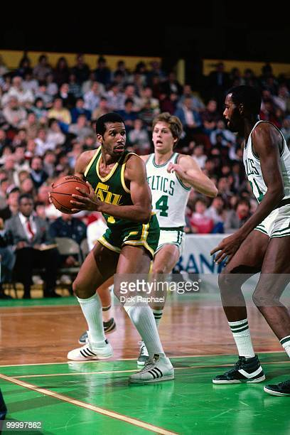 Adrian Dantley of the Utah Jazz looks to make a move against the Boston Celtics during a game played in 1983 at the Boston Garden in Boston...
