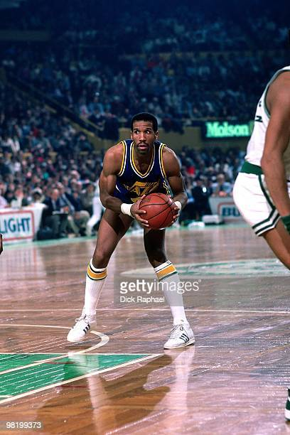 Adrian Dantley of the Utah Jazz looks to make a play against the Boston Celtics during a game played in 1985 at the Boston Garden in Boston,...