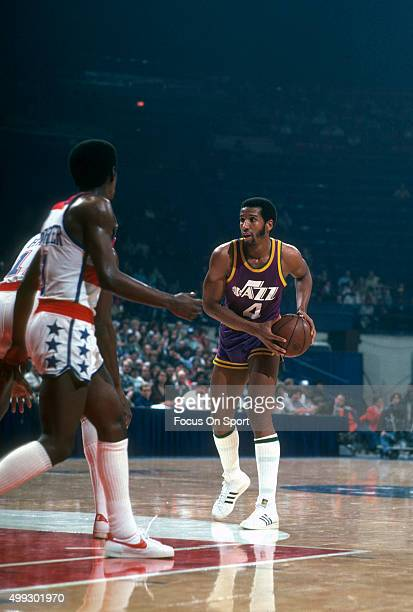 Adrian Dantley of the Utah Jazz looks to pass the ball against the Washington Bullets during an NBA basketball game circa 1979 at the Capital Centre...