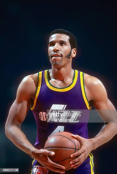 Adrian Dantley of the Utah Jazz looks to shoot a free throw against the Washington Bullets during an NBA basketball game circa 1980 at the Capital...