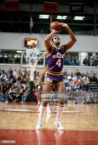 Adrian Dantley of the Utah Jazz shoots a free throw against the New Jersey Nets during an NBA basketball game circa 1980 at the Rutgers Athletic...