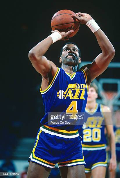 Adrian Dantley of the Utah Jazz shoots a freethrow against the Washington Bullets during an NBA basketball game circa 1984 at the Capital Centre in...