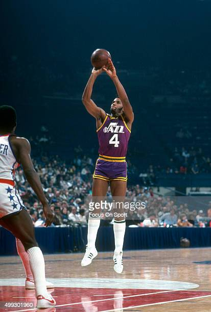 Adrian Dantley of the Utah Jazz shoots against the Washington Bullets during an NBA basketball game circa 1979 at the Capital Centre in Landover...