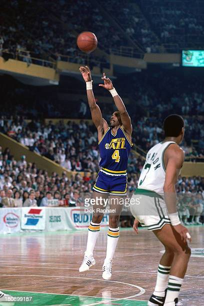 Adrian Dantley of the Utah Jazz shoots during a game against the Boston Celtics circa 1986 at the Boston Garden in Boston, Massachusetts. NOTE TO...