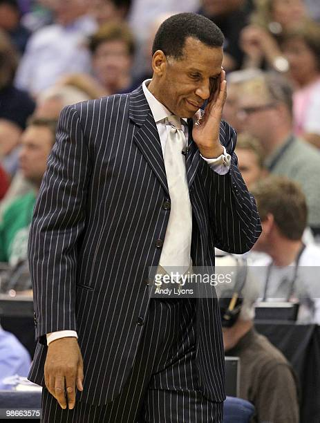 Adrian Dantley the acting Head Coach of the Denver Nuggets reacts to a call that went against the Nuggets against the Utah Jazz during Game Four of...