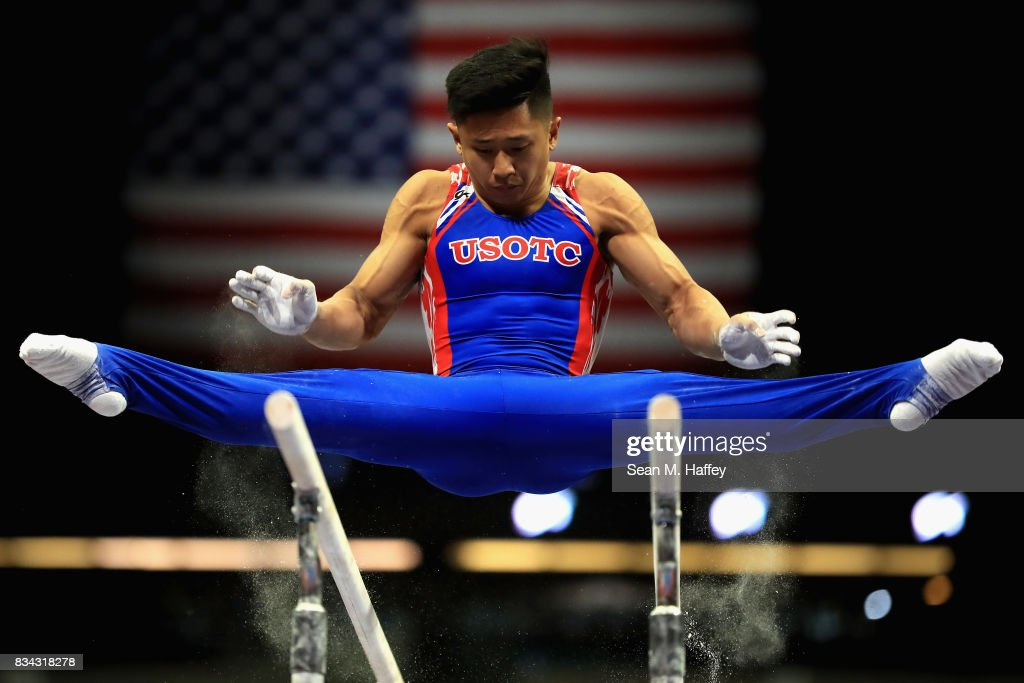 Adrian De Los Angeles competes on the parallel bars during the P&G Gymnastics Championships at Honda Center on August 17, 2017 in Anaheim, California.